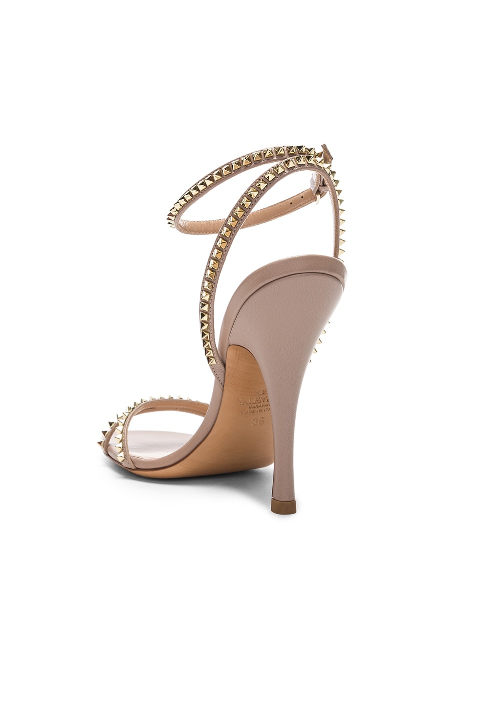 Image 3 of Valentino Leather Rockstud No Limit Ankle Strap Sandals in Poudre