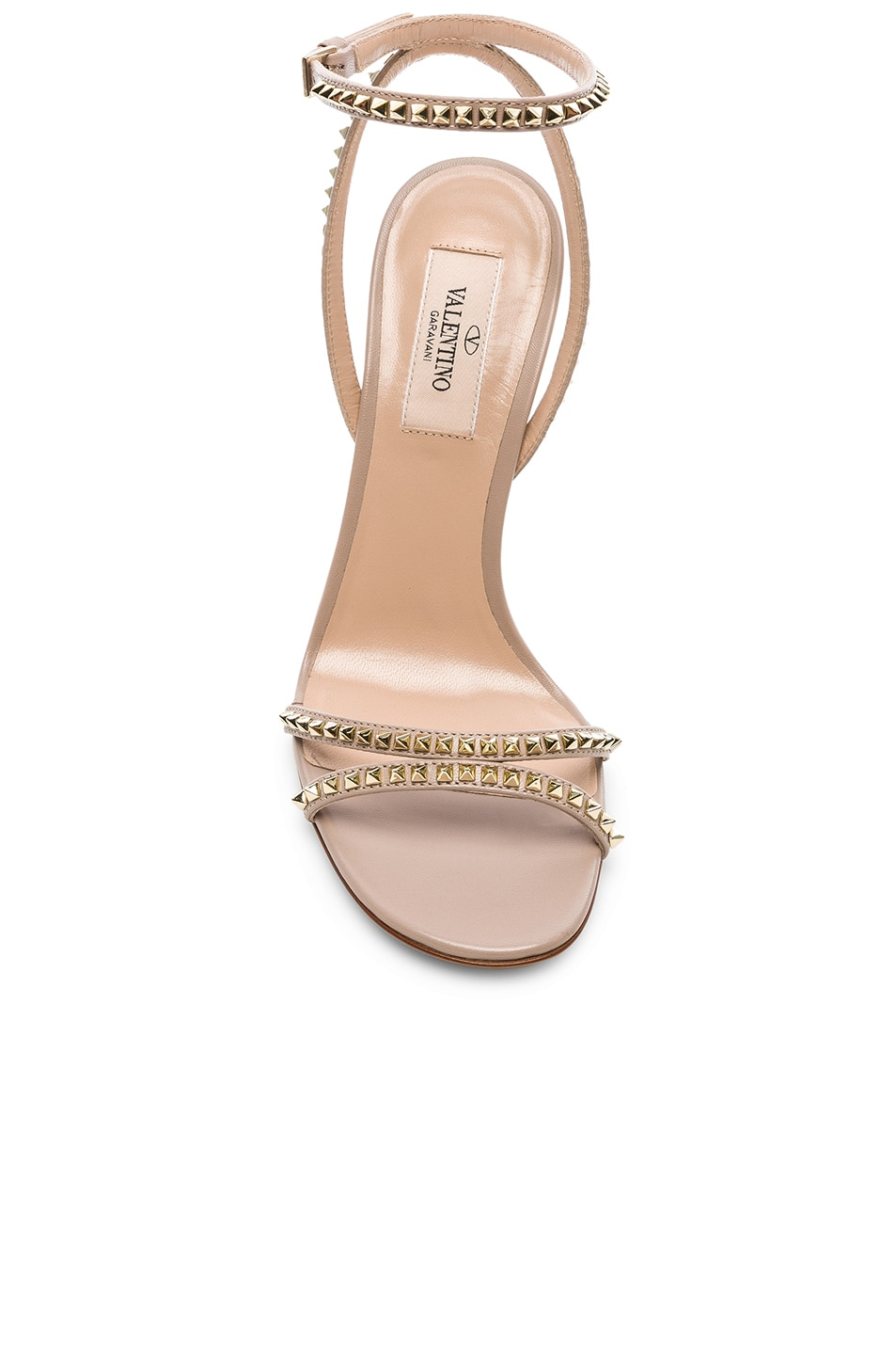 Image 4 of Valentino Leather Rockstud No Limit Ankle Strap Sandals in Poudre