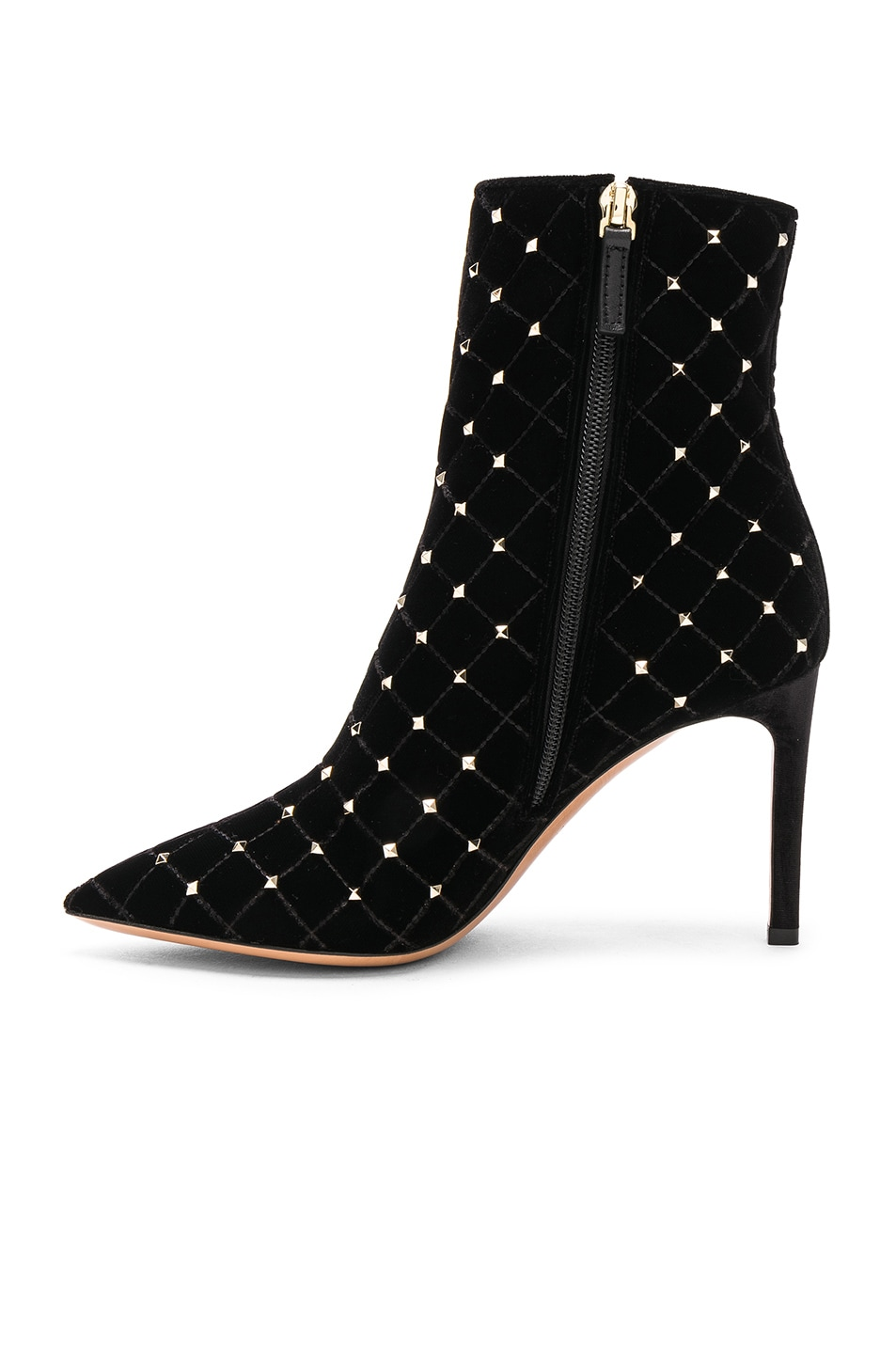 Image 5 of Valentino Velvet Rockstud Spike Ankle Boots in Black