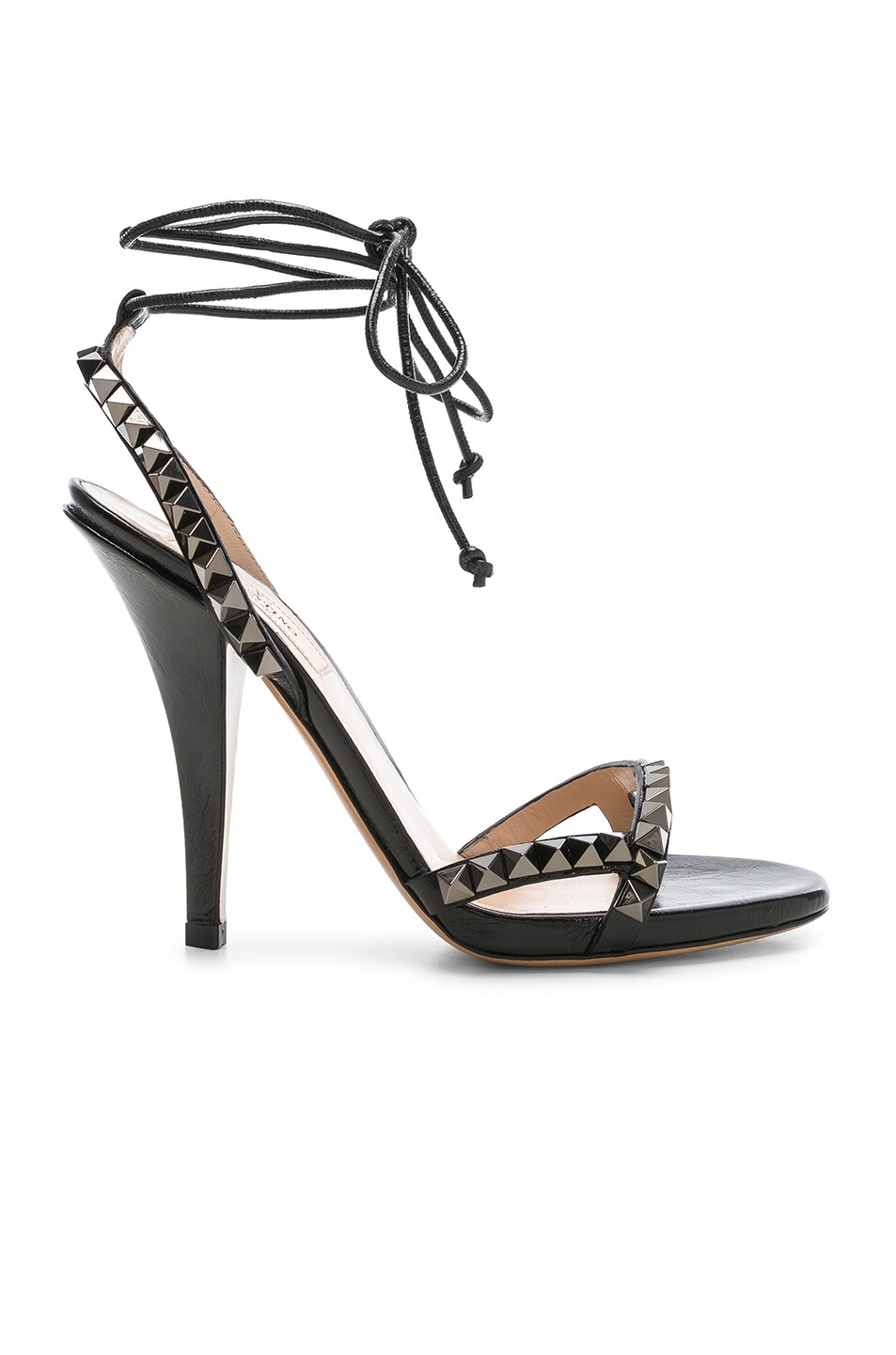 f17a1fdc0b Image 1 of Valentino Leather Rockstud No Limit Strappy Sandals in Black