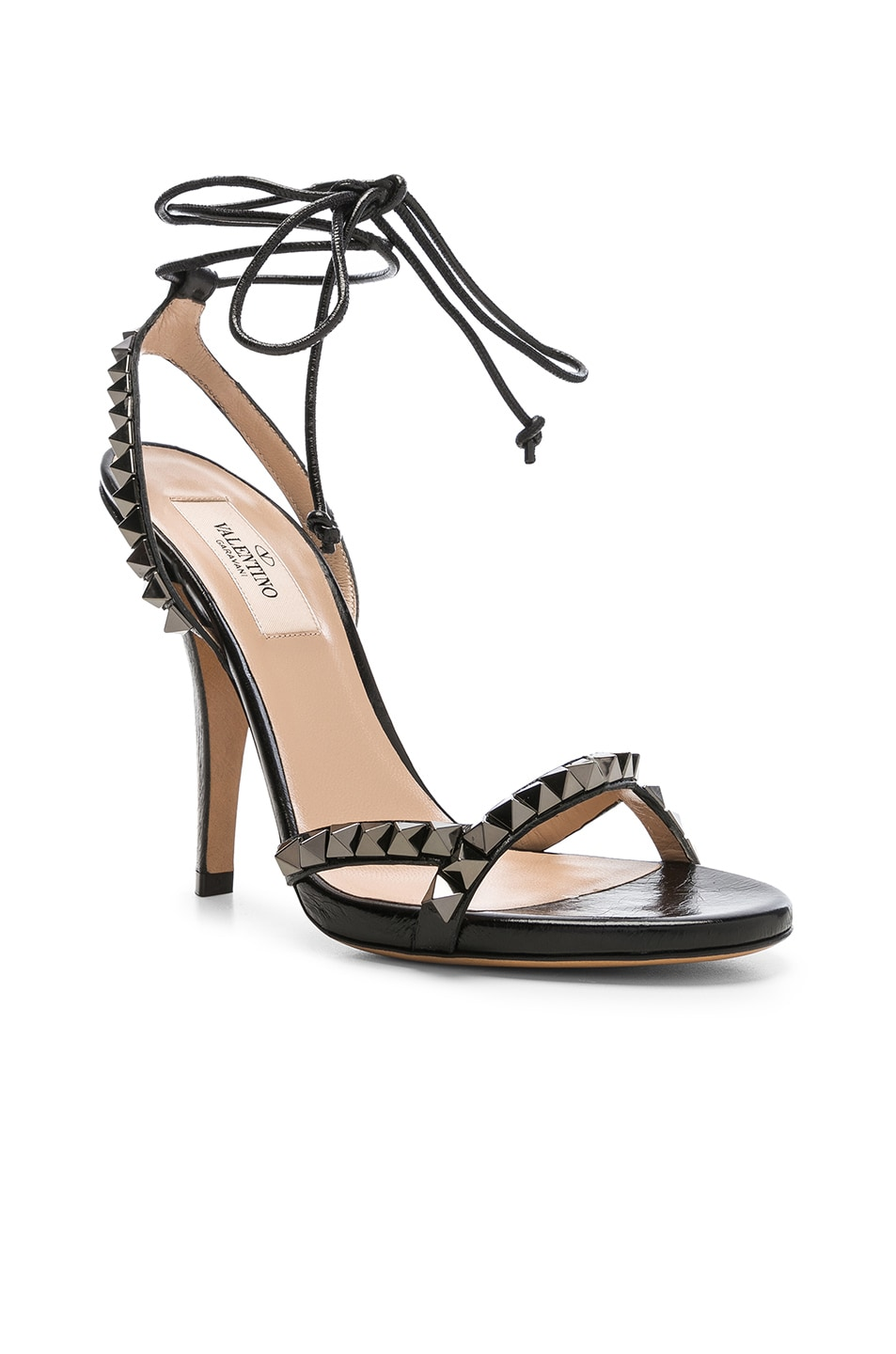 Image 2 of Valentino Leather Rockstud No Limit Strappy Sandals in Black