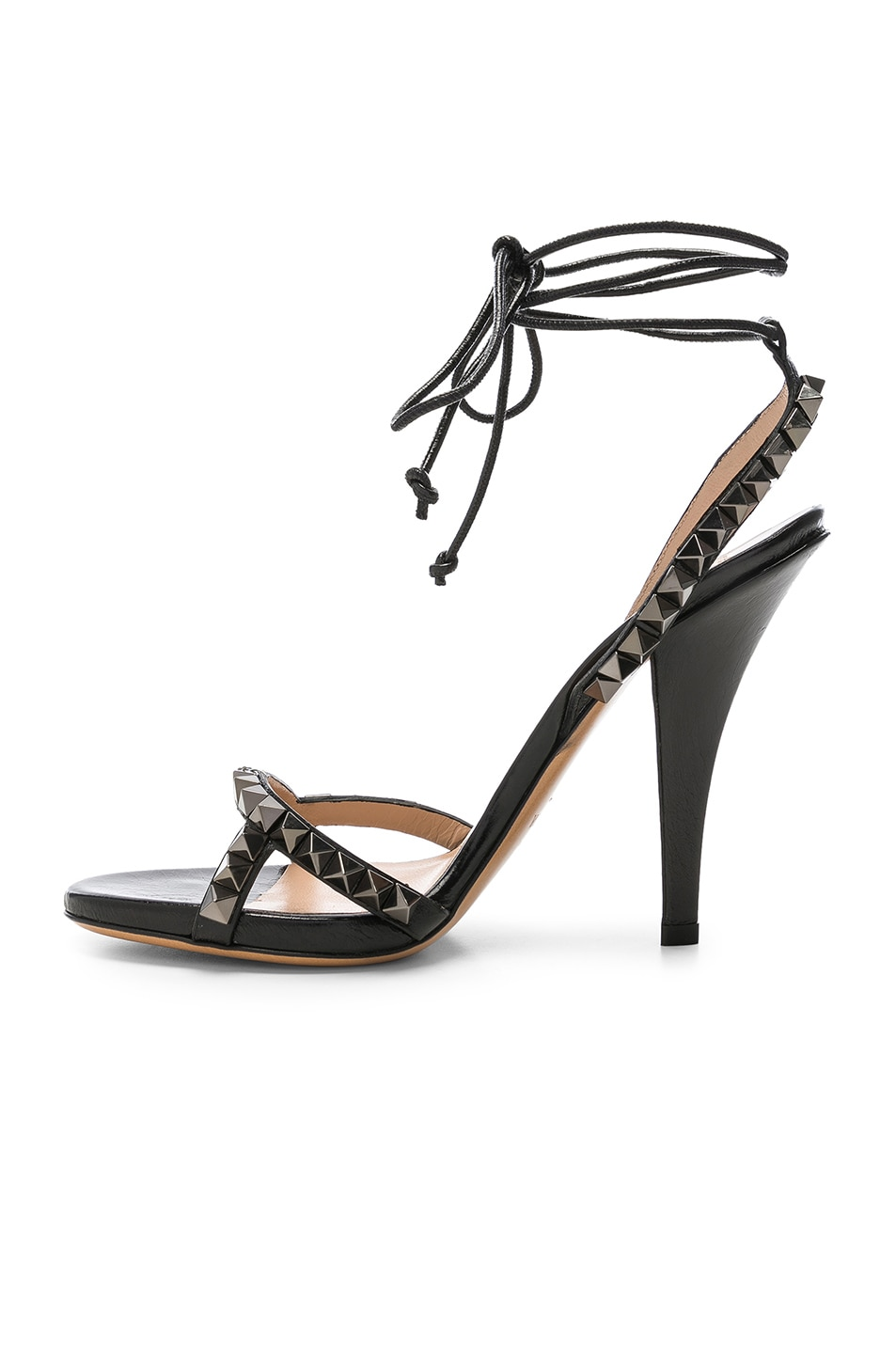 Image 5 of Valentino Leather Rockstud No Limit Strappy Sandals in Black