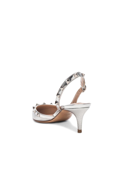 Image 3 of Valentino Rockstud Sling Back Heels in Silver & Silver