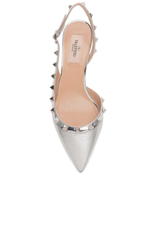 Image 4 of Valentino Rockstud Sling Back Heels in Silver & Silver