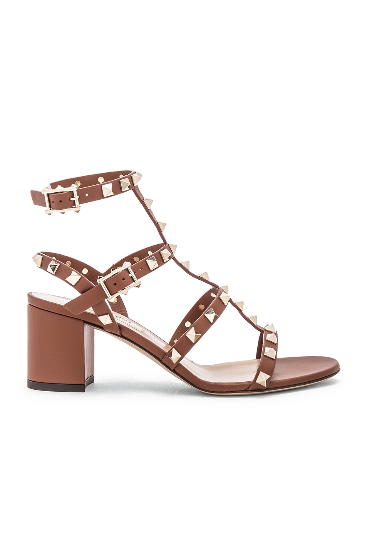 Image 1 of Valentino Rockstud Sandals in Bright Cognac