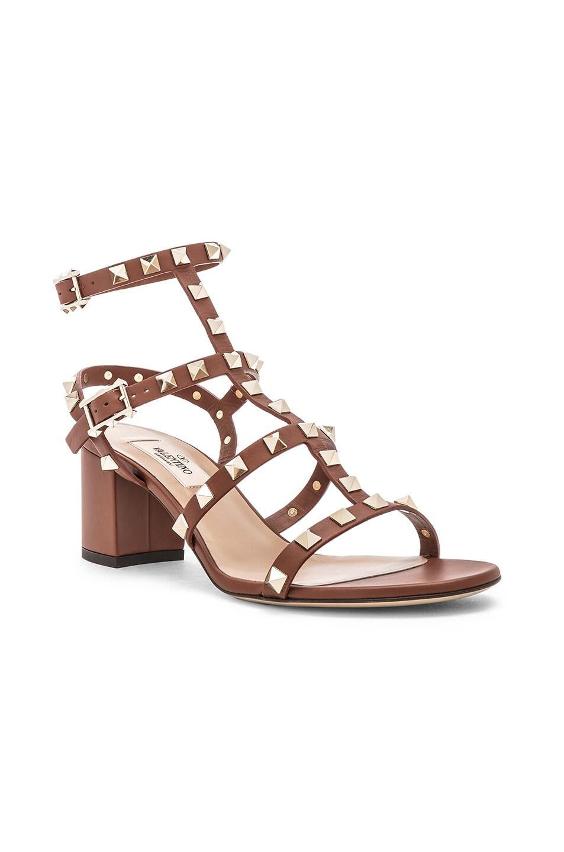 Image 2 of Valentino Rockstud Sandals in Bright Cognac