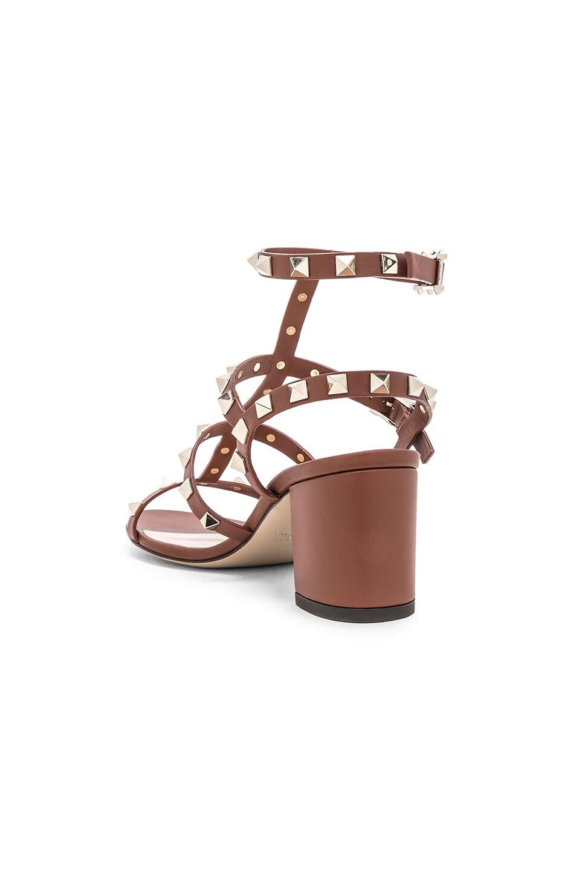 Image 3 of Valentino Rockstud Sandals in Bright Cognac