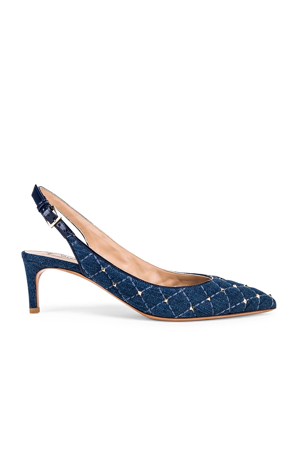 Image 1 of Valentino Rockstud Spike Sling Back Heels in Light Denim