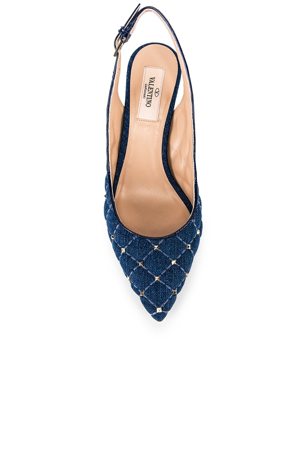 Image 4 of Valentino Rockstud Spike Sling Back Heels in Light Denim