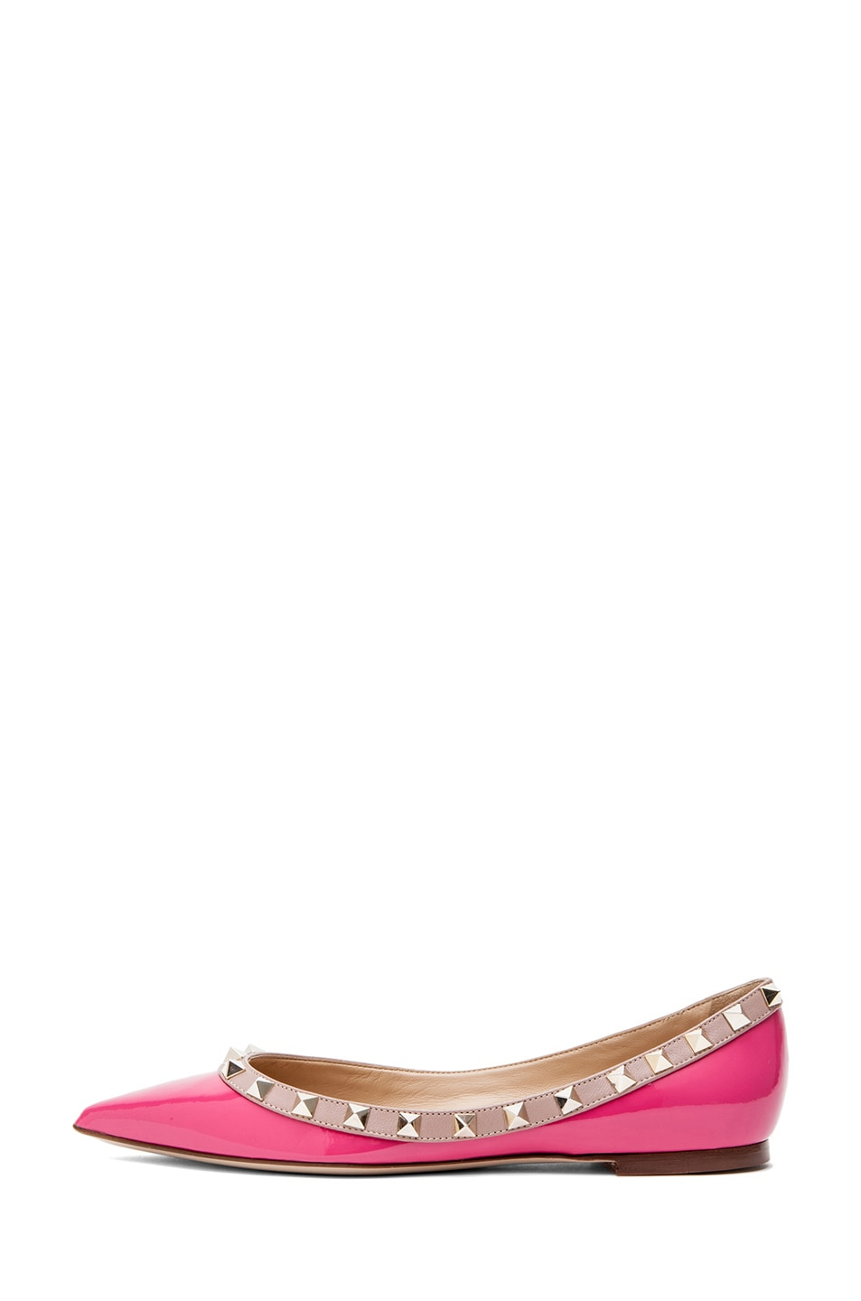 Image 1 of Valentino Rockstud Patent Leather Ballerina Flat in Pink