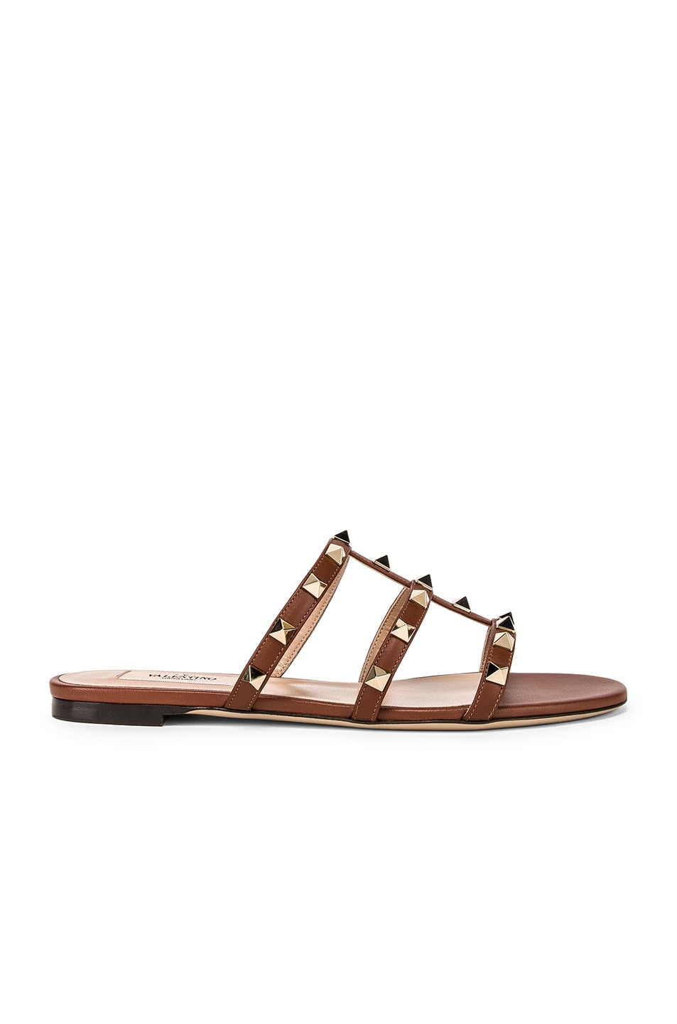 Image 1 of Valentino Rockstud Slides in Bright Cognac & Bright Cognac