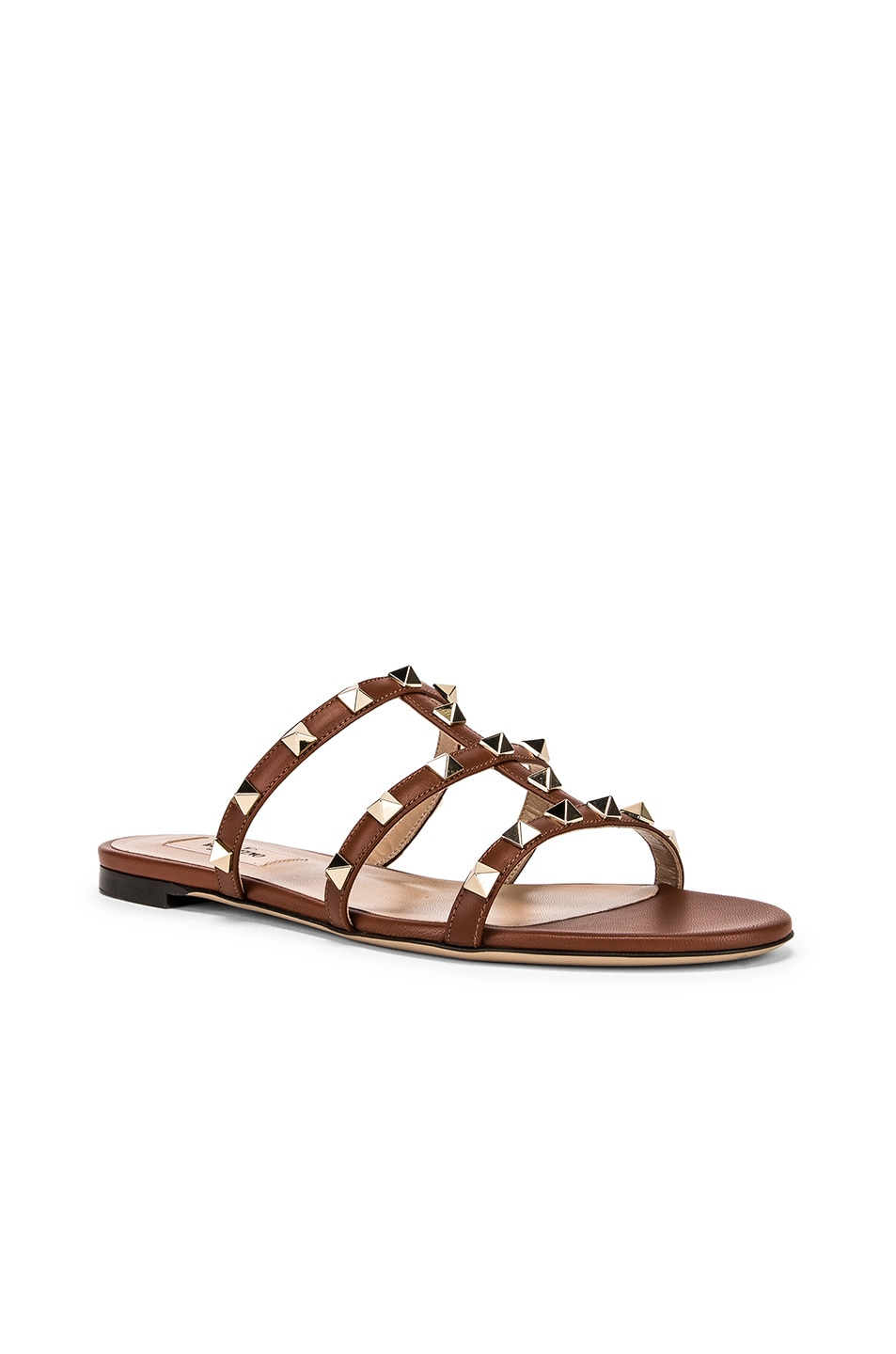 Image 2 of Valentino Rockstud Slides in Bright Cognac & Bright Cognac