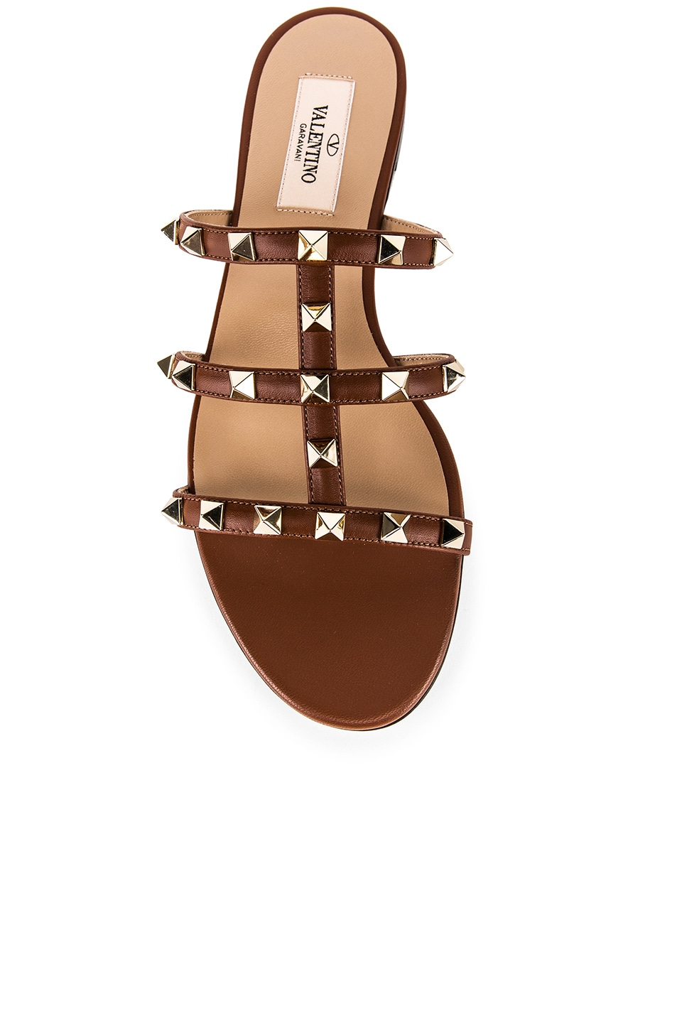 Image 4 of Valentino Rockstud Slides in Bright Cognac & Bright Cognac