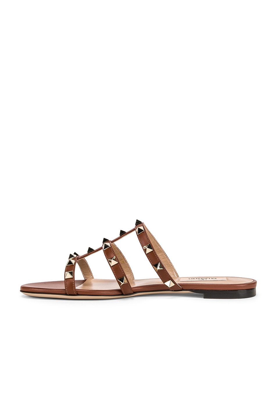 Image 5 of Valentino Rockstud Slides in Bright Cognac & Bright Cognac