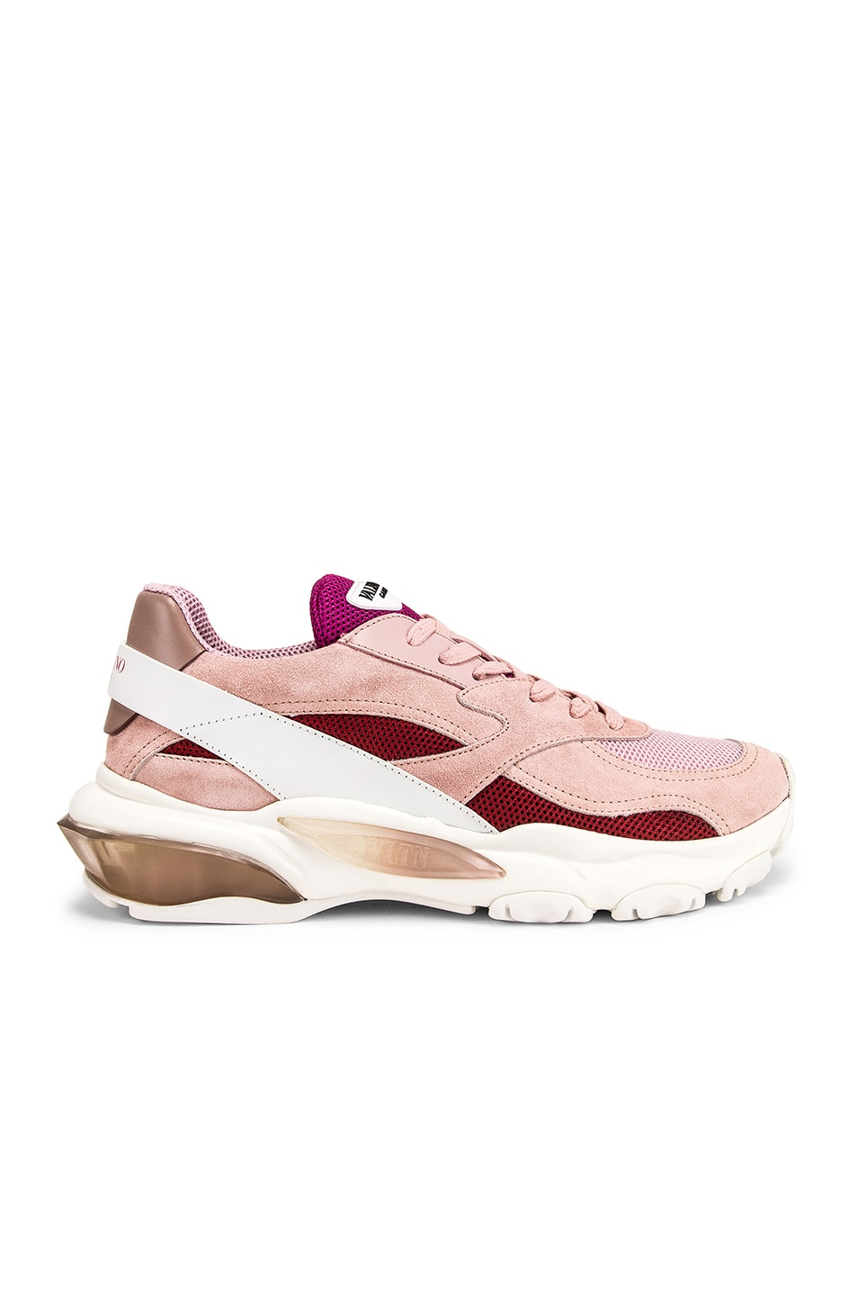 Image 1 of Valentino Bounce Sneakers in White & Rose