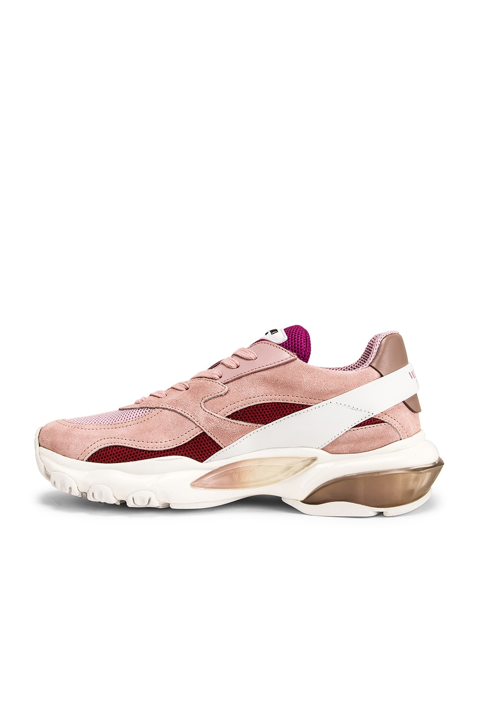 Image 5 of Valentino Bounce Sneakers in White & Rose