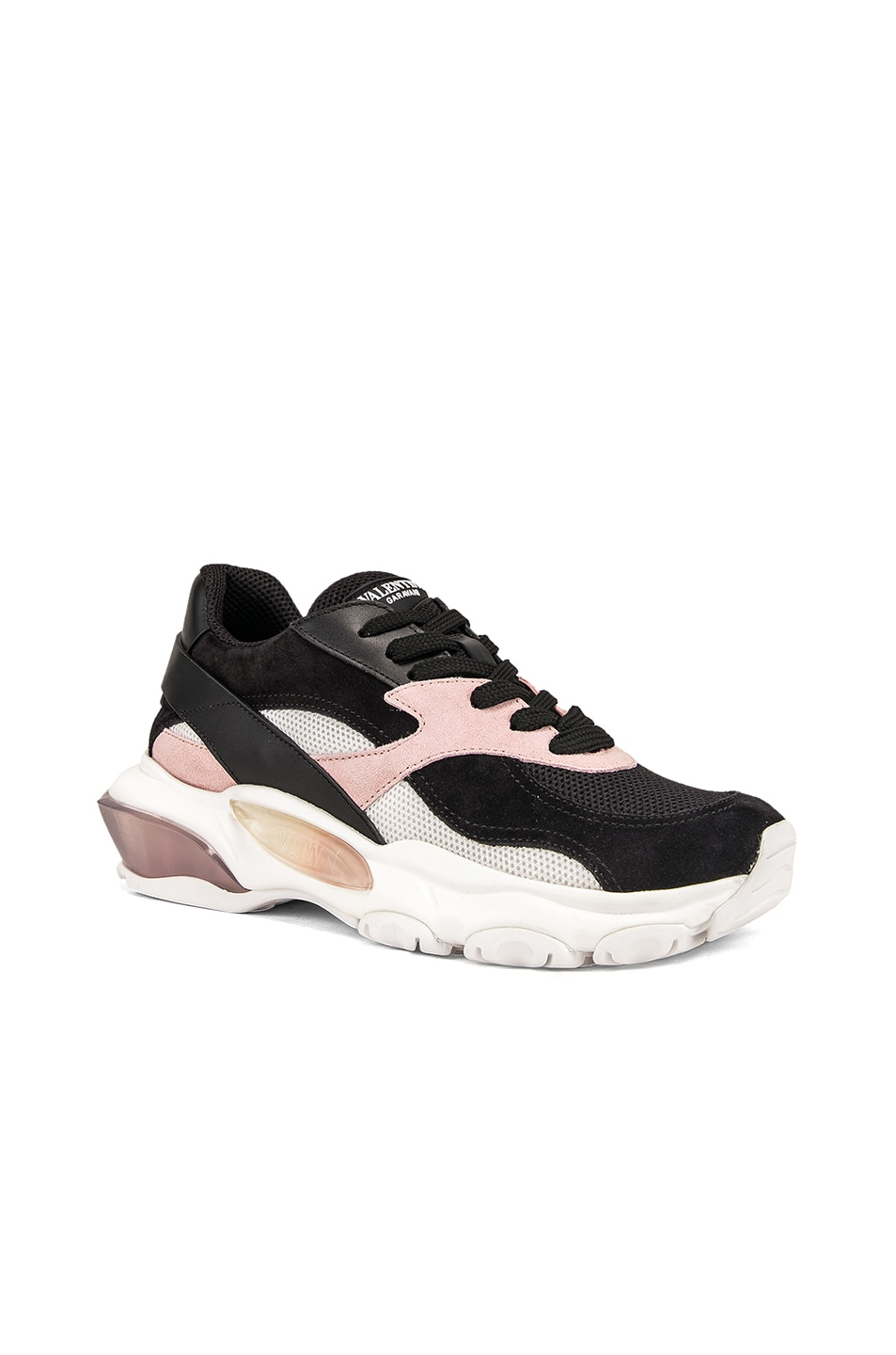 Image 2 of Valentino Bounce Sneakers in Black & Rose