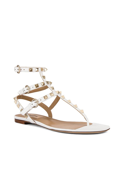 Image 2 of Valentino Rockstud Thong Sandal in Bianco Ottico