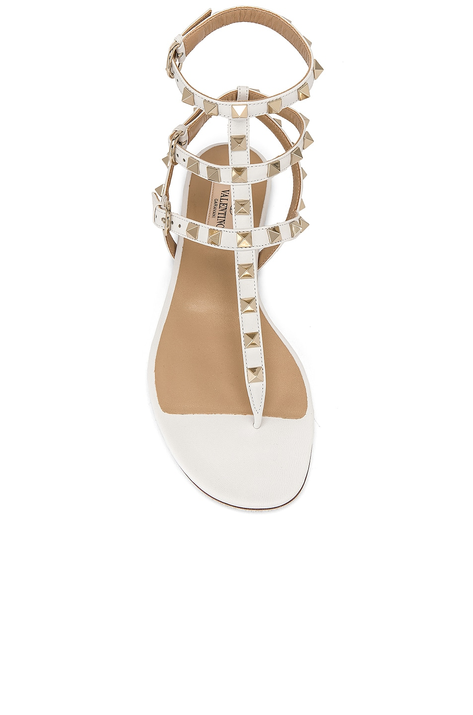 Image 4 of Valentino Rockstud Thong Sandal in Bianco Ottico