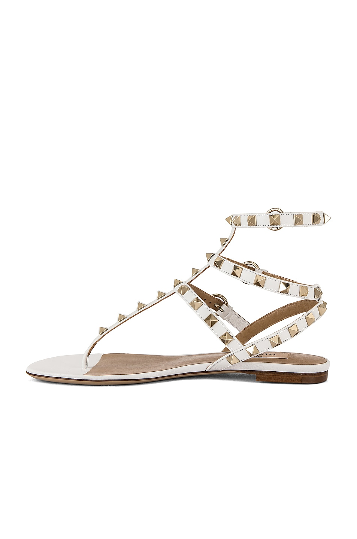Image 5 of Valentino Rockstud Thong Sandal in Bianco Ottico