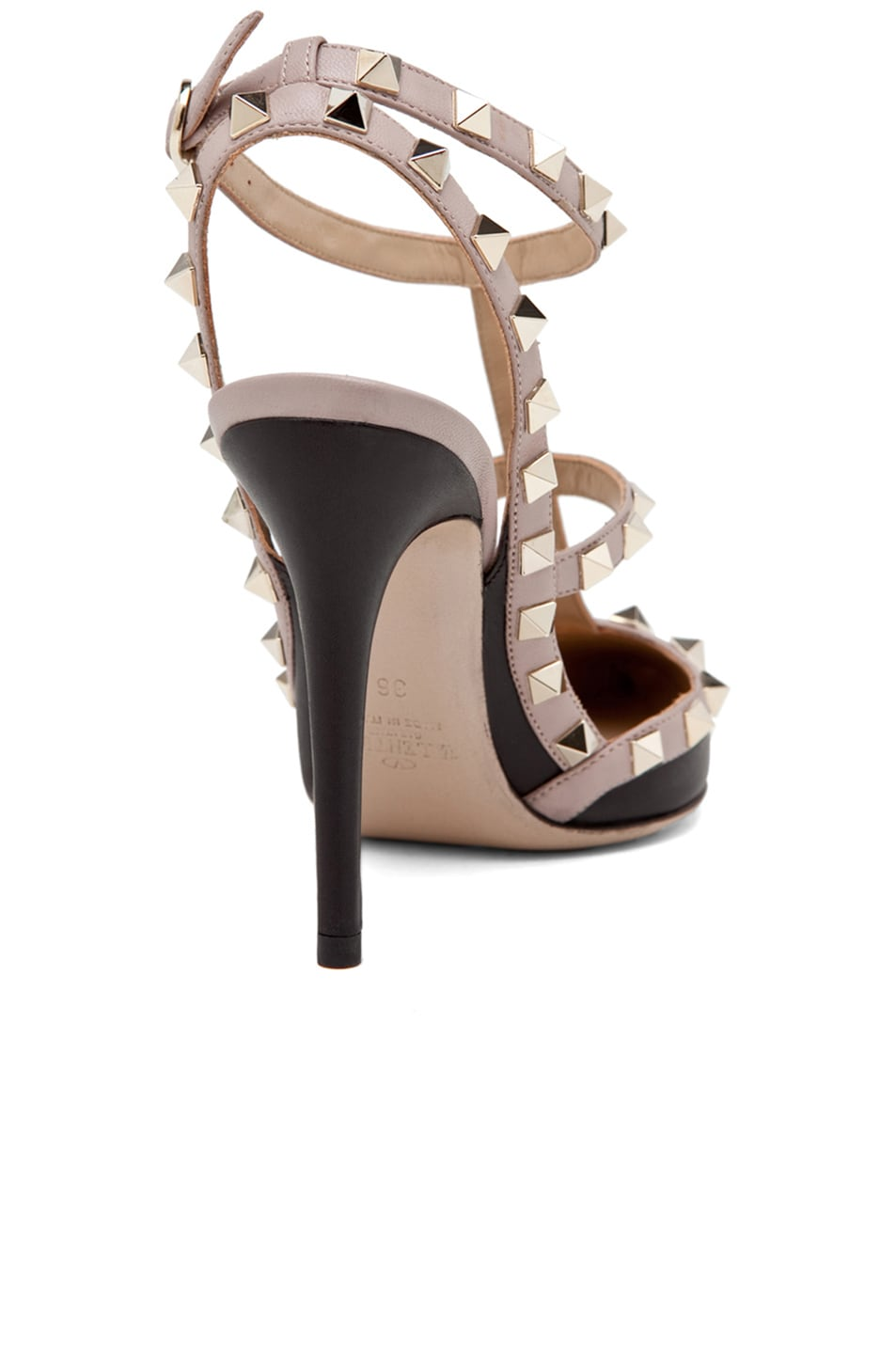 Image 3 of Valentino Rockstud Leather Slingbacks T.100 in Black