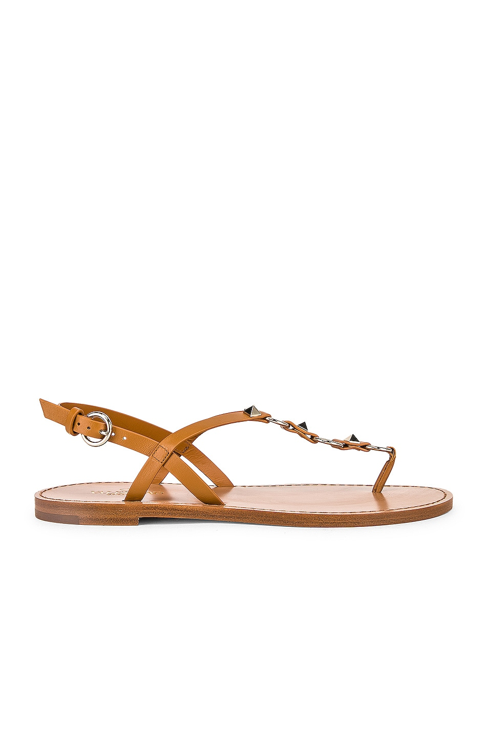 Image 1 of Valentino Cagestuds Thong Sandal in Tan