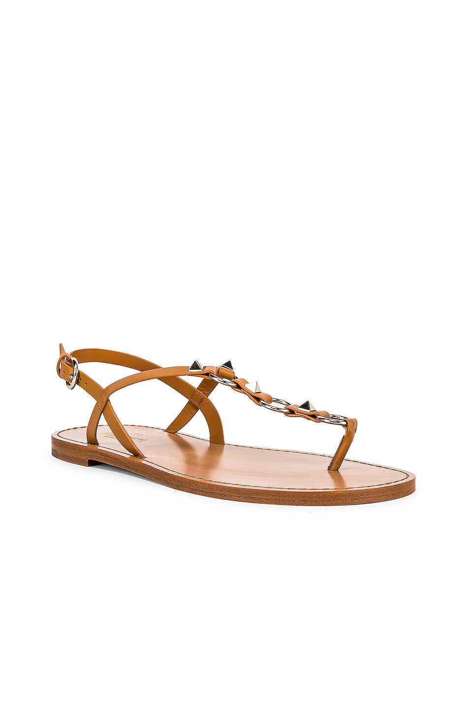 Image 2 of Valentino Cagestuds Thong Sandal in Tan