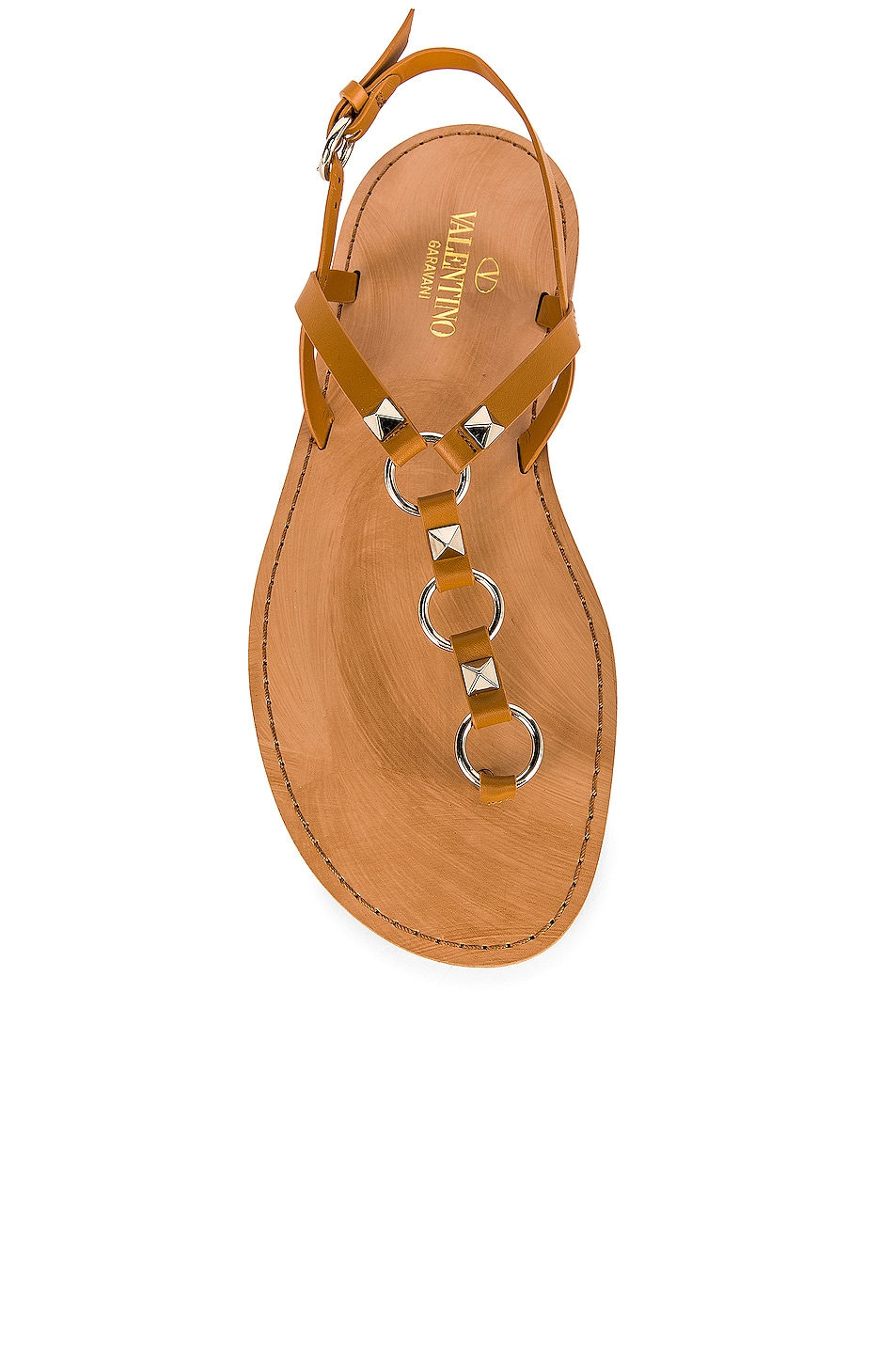 Image 4 of Valentino Cagestuds Thong Sandal in Tan