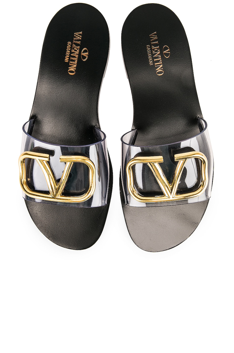 Image 1 of Valentino Go Logo Slide in Transparent & Nero
