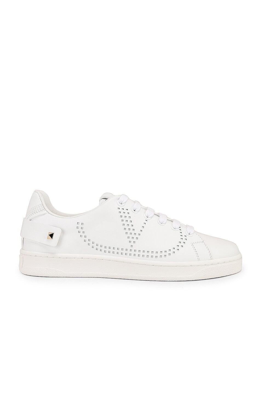 Image 1 of Valentino Net Sneaker in Bianco Ottico