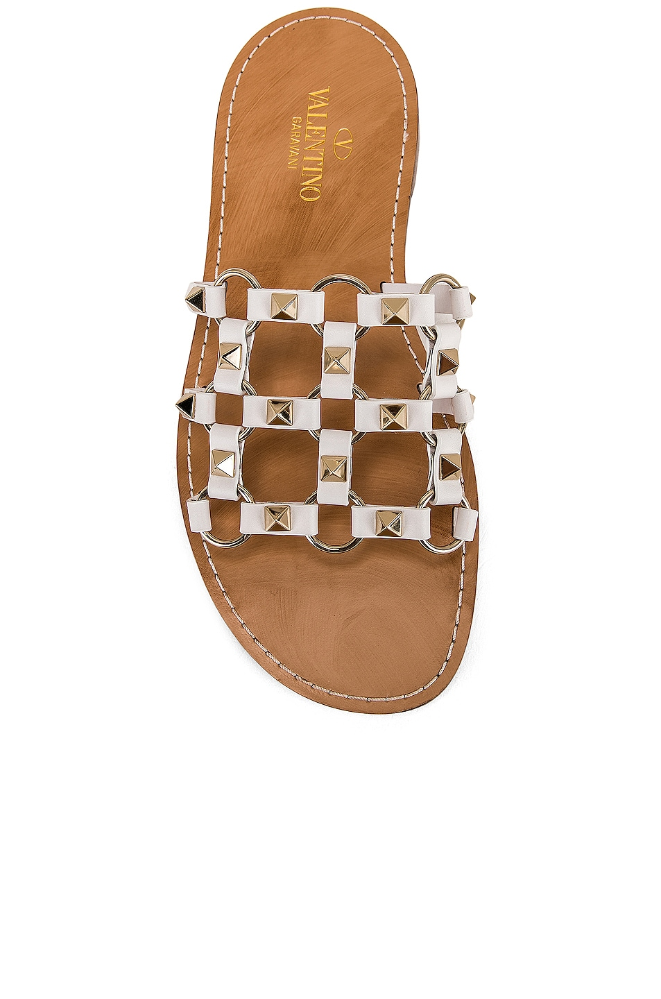 Image 4 of Valentino Cagestuds Sandal in Bianco Ottico