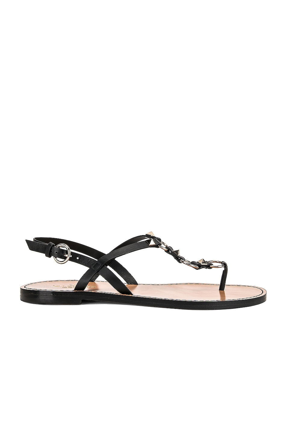 Image 1 of Valentino Cagestuds Thong Sandal in Nero