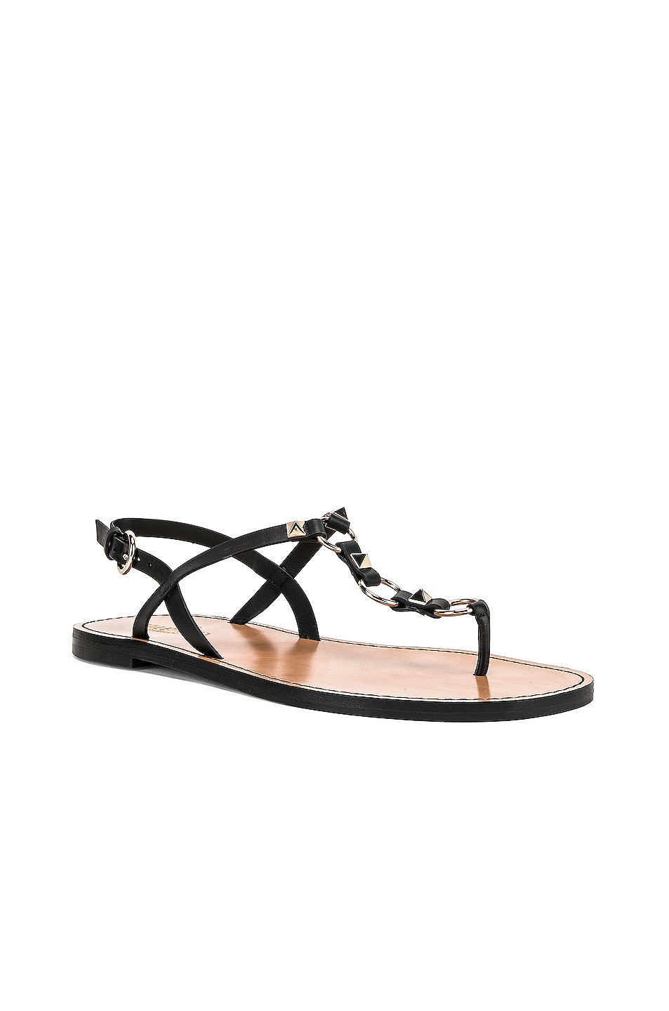 Image 2 of Valentino Cagestuds Thong Sandal in Nero