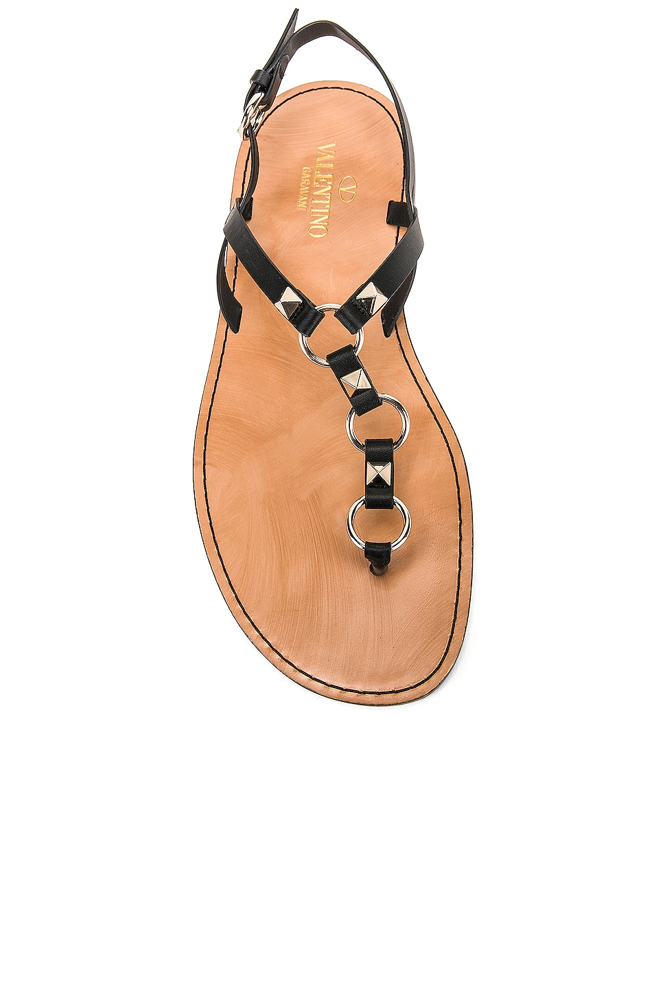 Image 4 of Valentino Cagestuds Thong Sandal in Nero