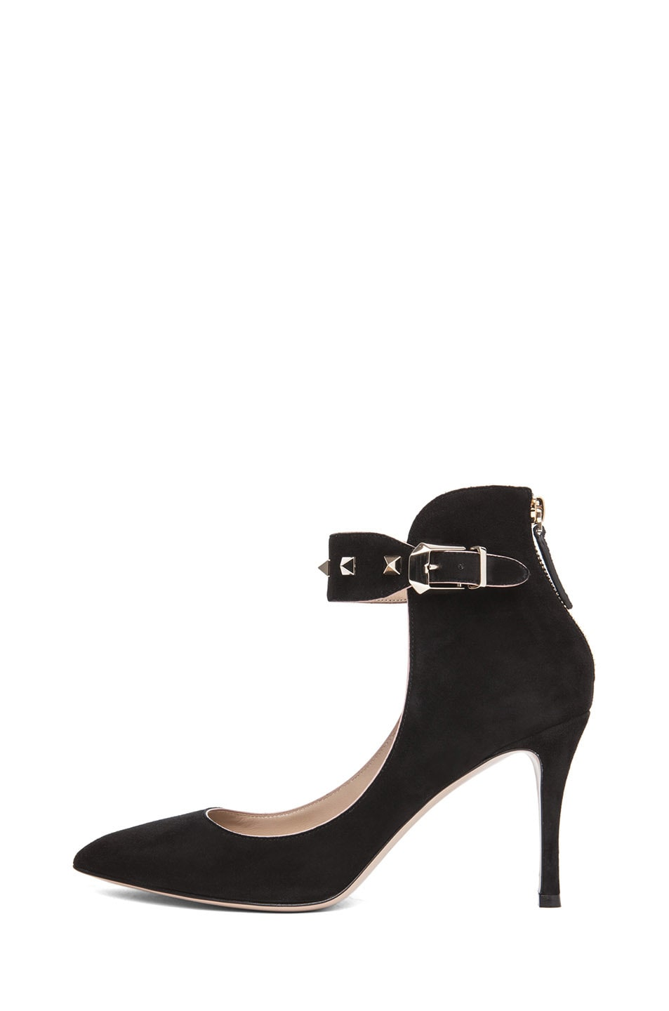 fc4f92eb866 Image 1 of Valentino Rockstud Suede Ankle Strap Pump in Black Suede