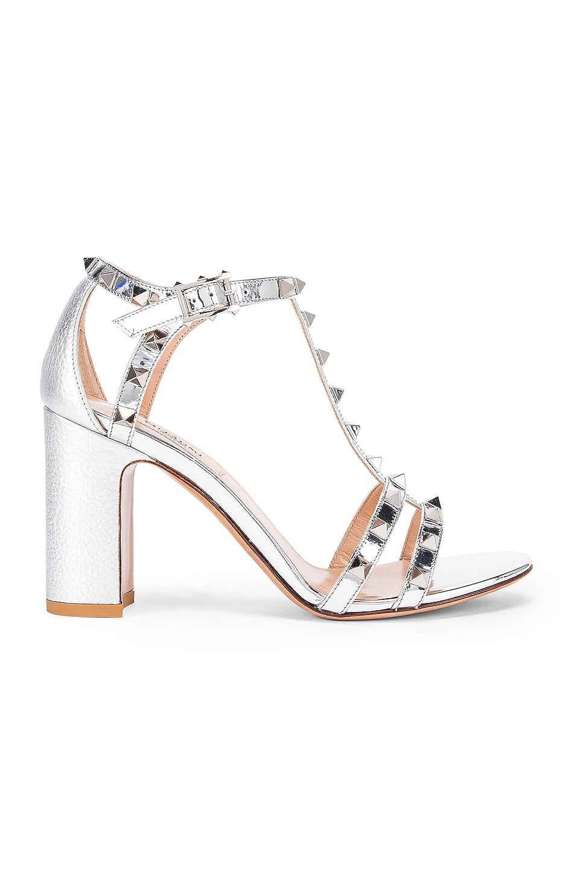Image 1 of Valentino Rockstud Strap Heels in Silver