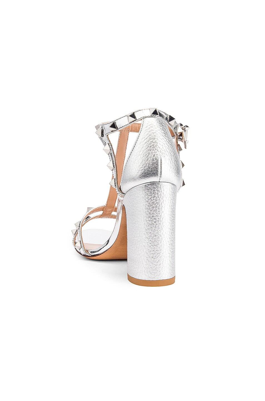 Image 3 of Valentino Rockstud Strap Heels in Silver