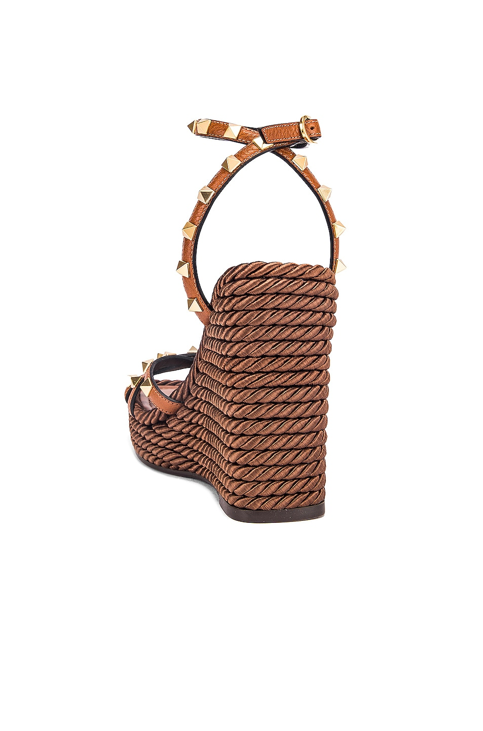 Image 3 of Valentino Rockstud Wedges in Cuoio