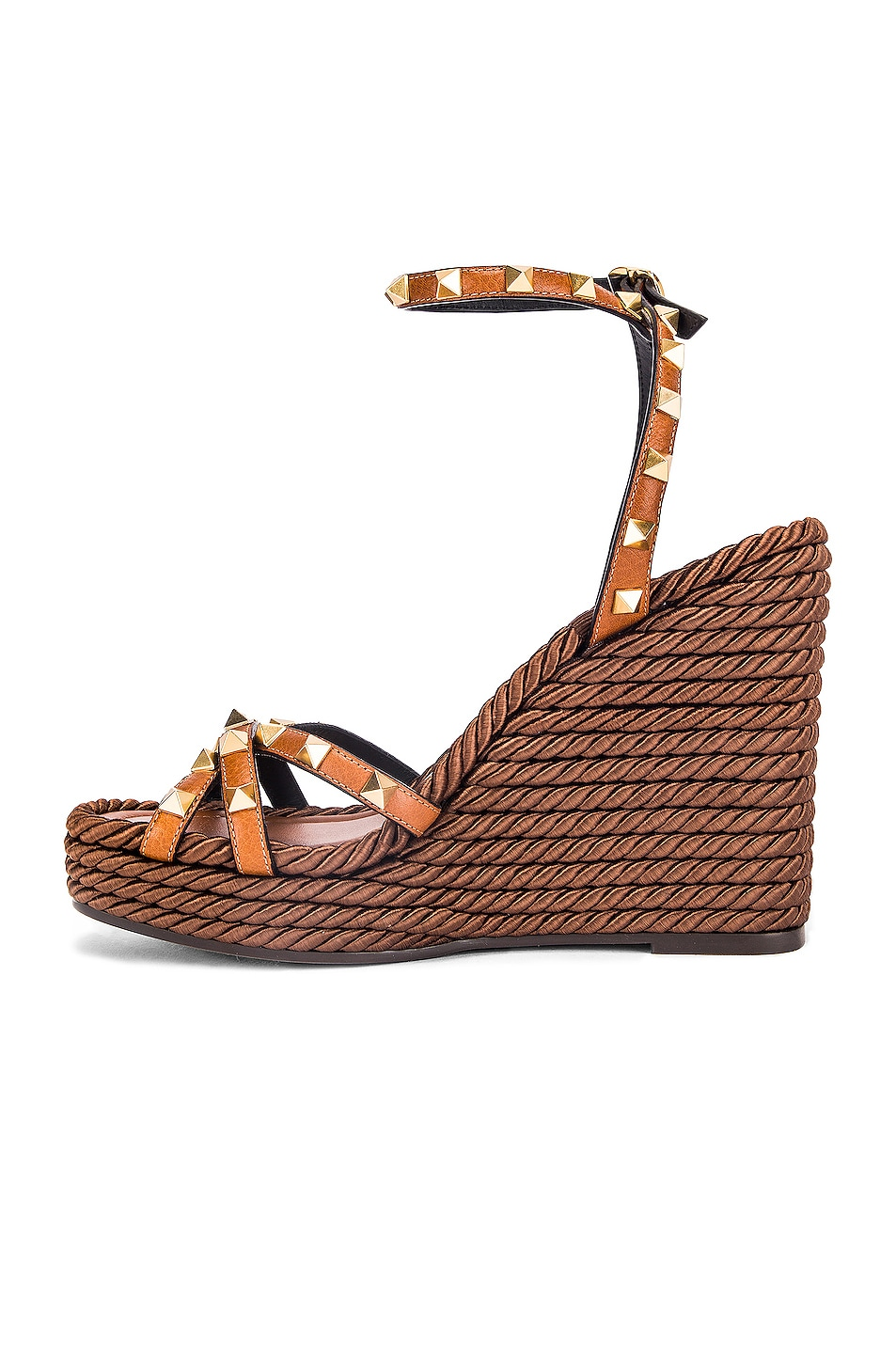 Image 5 of Valentino Rockstud Wedges in Cuoio