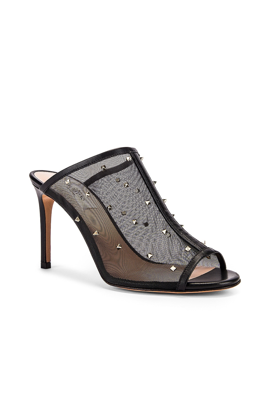 Image 2 of Valentino Mesh Open Toe Heels in Black