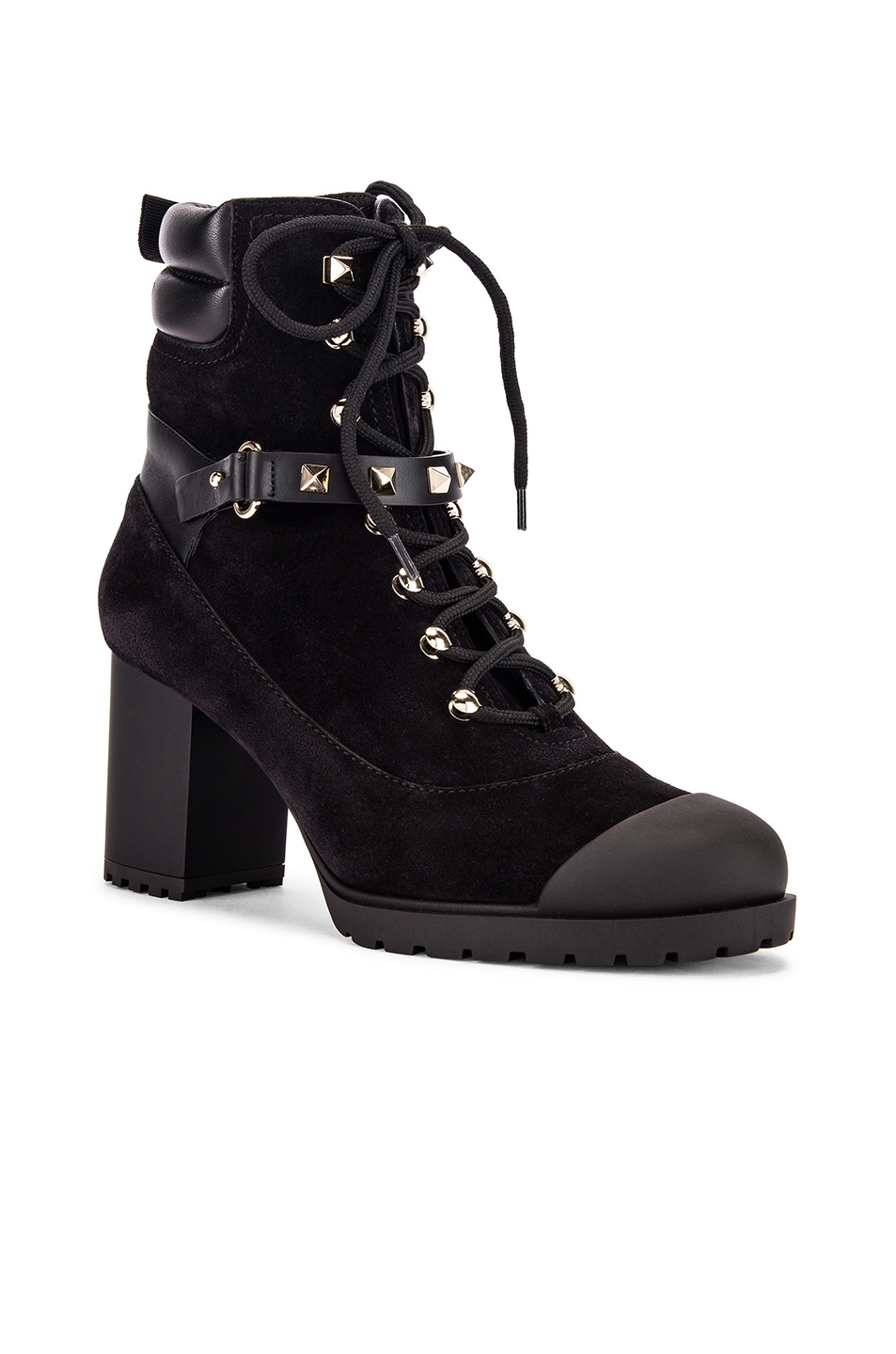 Image 2 of Valentino Rockstud Combat Boots in Black