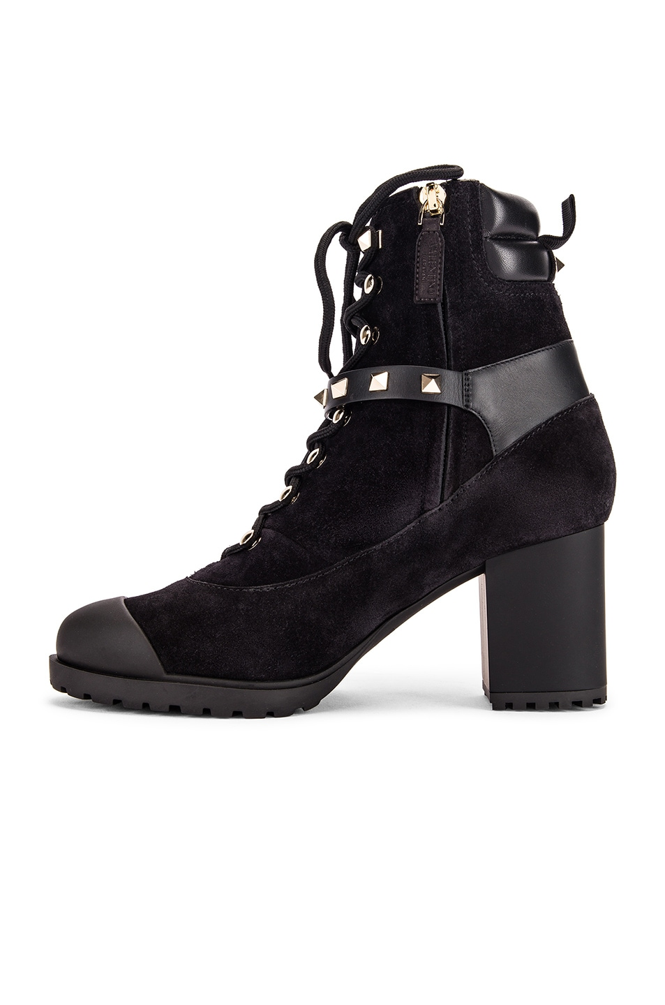 Image 5 of Valentino Rockstud Combat Boots in Black
