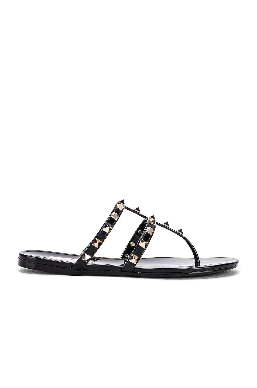 Image 1 of Valentino Rockstud Summer Thong Sandals in Black
