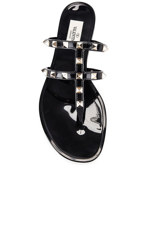 Image 4 of Valentino Rockstud Summer Thong Sandals in Black