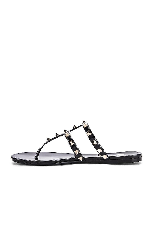 Image 5 of Valentino Rockstud Summer Thong Sandals in Black