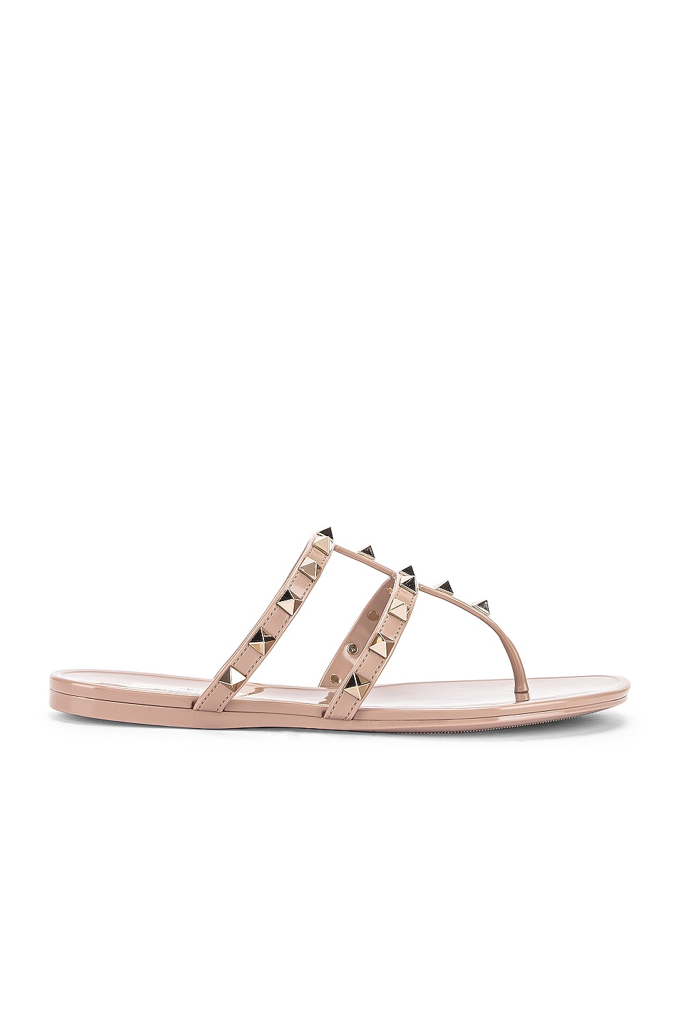 Image 1 of Valentino Garavani Rockstud Summer Thong Sandals in Poudre