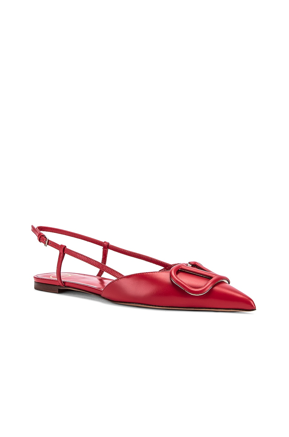 Image 3 of Valentino VLogo Ballerina Flats in Red