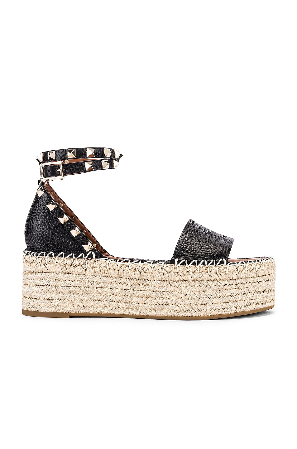 Image 1 of Valentino Rockstud Double Platform Wedges in Black & Natural