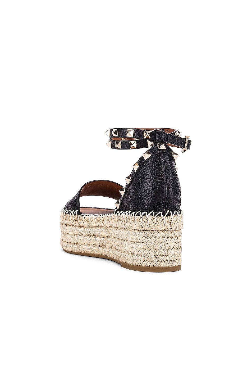 Image 3 of Valentino Rockstud Double Platform Wedges in Black & Natural