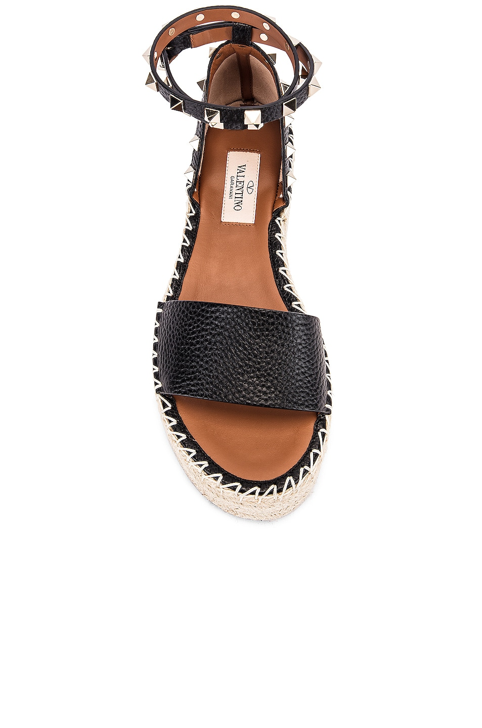 Image 4 of Valentino Rockstud Double Platform Wedges in Black & Natural